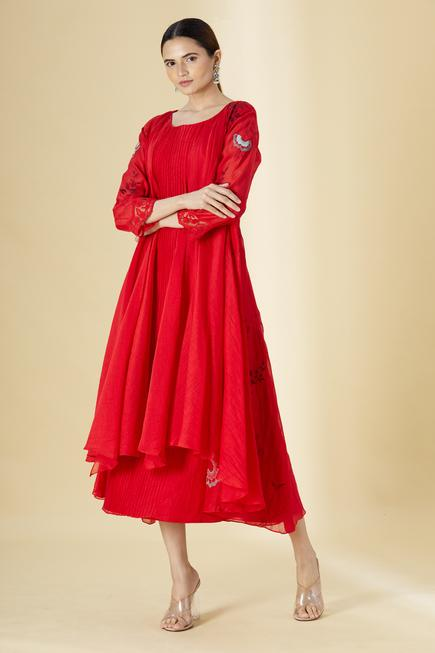 Cotton Chanderi Pleated Dress with Jacket