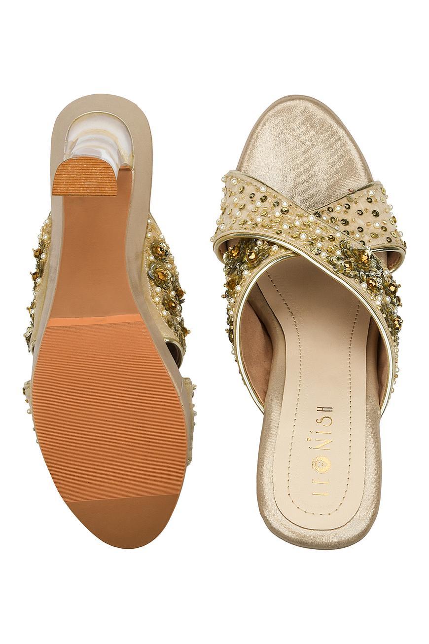 Cross Strap Embellished Heels