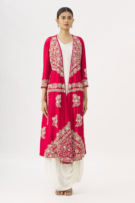 Draped Dress with Embroidered Jacket