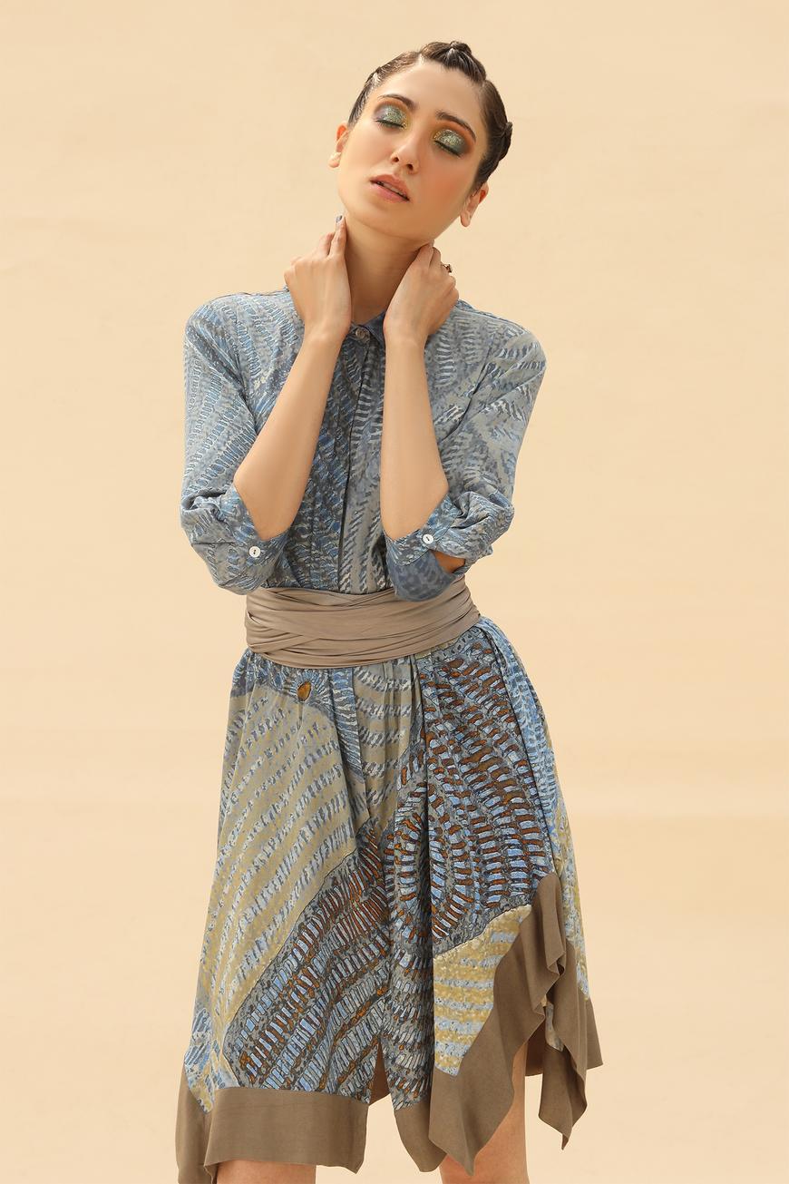 Tie-Dye Print Shirt Dress