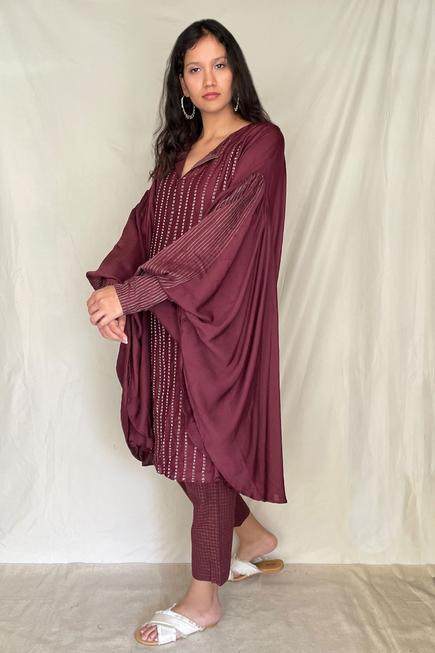 Embroidered Asymmetric Tunic with Pants