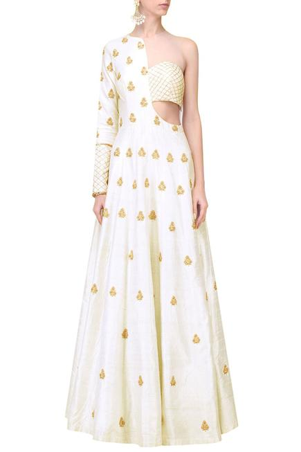 Embroidered Asymmetric Cutout Gown