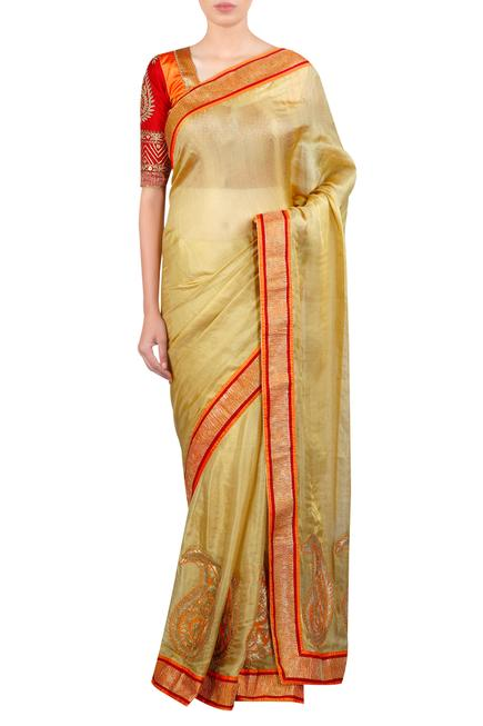 Applique work embroidered saree with blouse