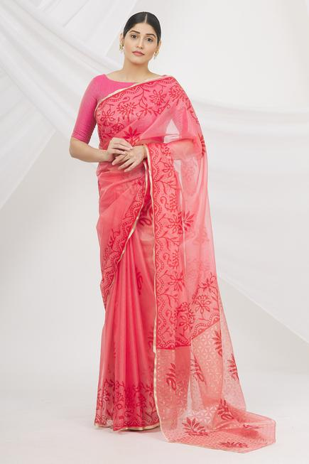 Block Print Organza Saree with Running Blouse Fabric