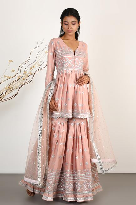 Embroidered Peplum Kurta Set