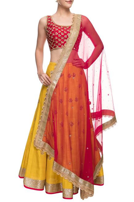 Mustard yellow & red zardosi embroidered lehenga set