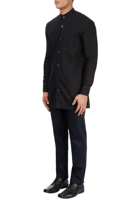 Black chinese collared shirt