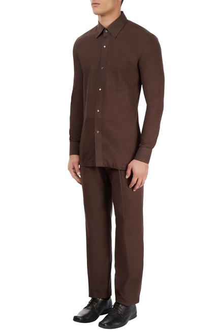 Brown cotton cotton collared shirt