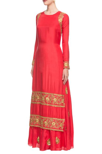 Coral & red embroidered lehenga set