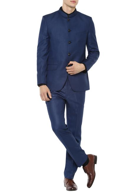 Cobalt blue bandhgala with trousers