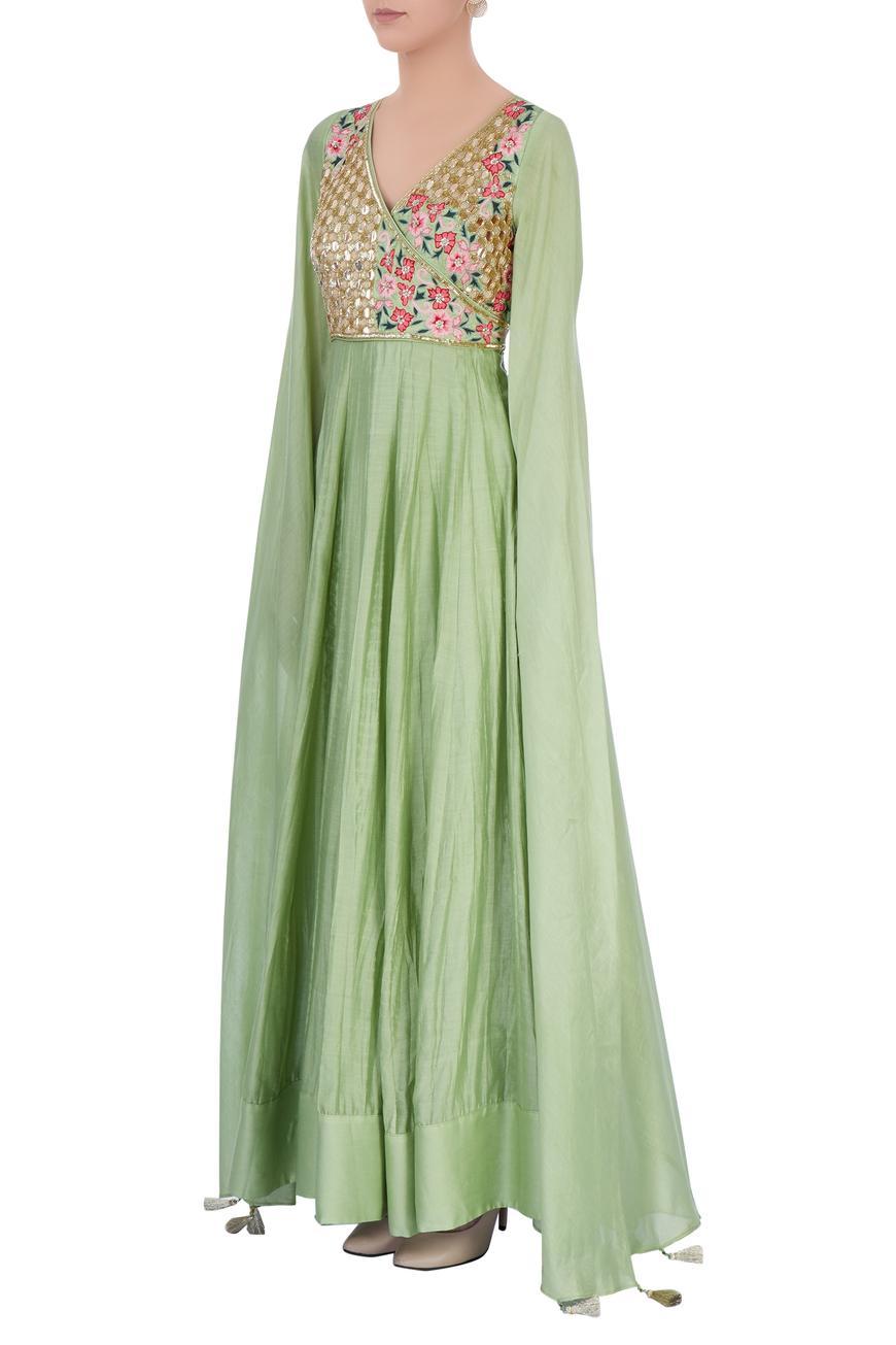 Pastel green embellished anarkali gown