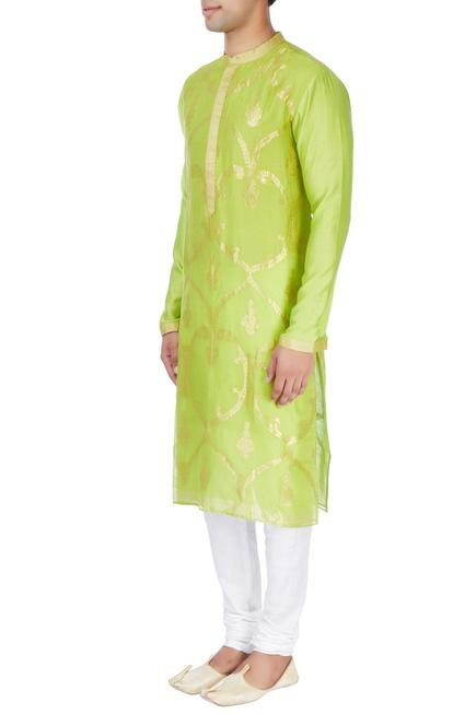 Lime green kurta in patra embroidery