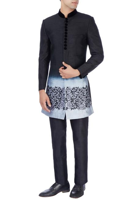 Black & gray sherwani & trousers