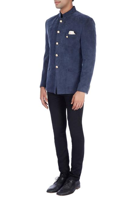 Navy blue bandhgala jacket & trousers
