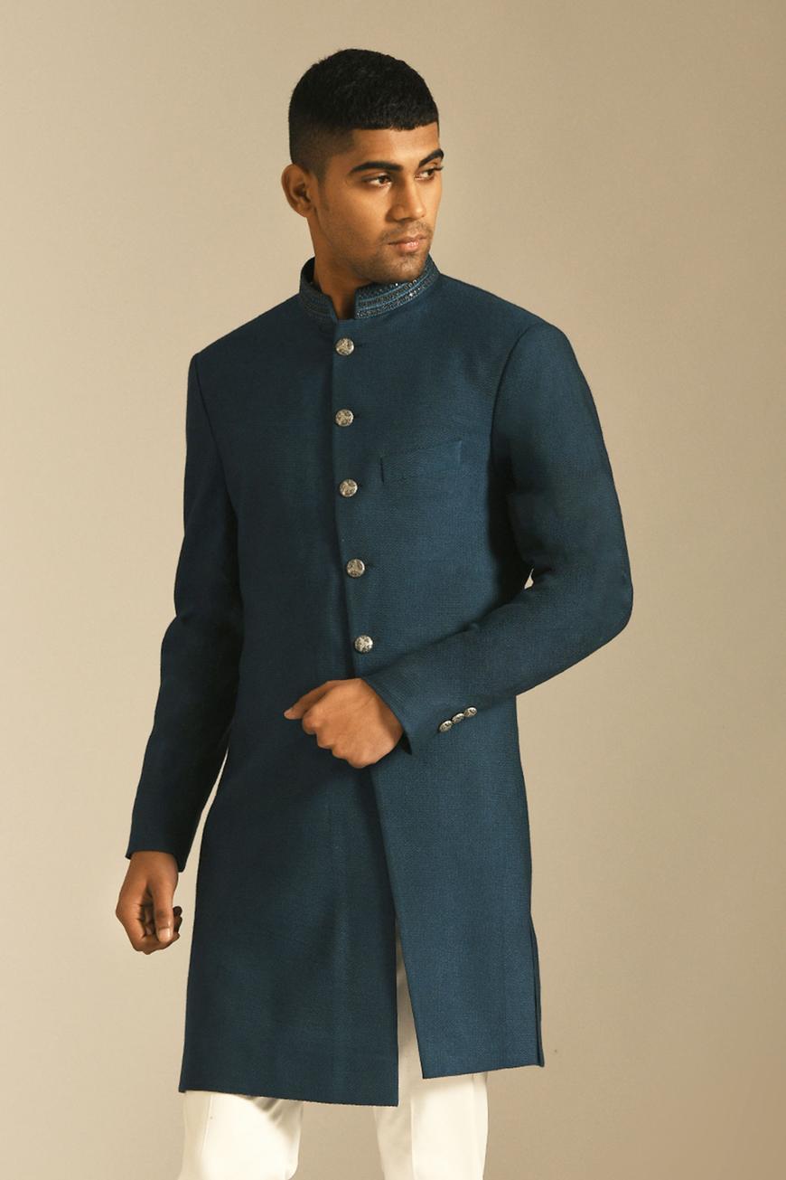 Textured Short Sherwani