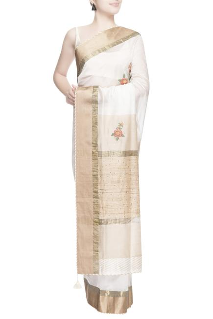 White & gold floral embroidered saree