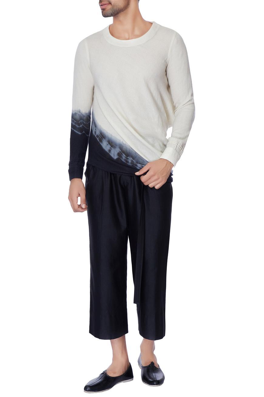 White & black tie & dye silk linen shirt
