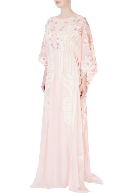 Baby pink embroidered kaftan
