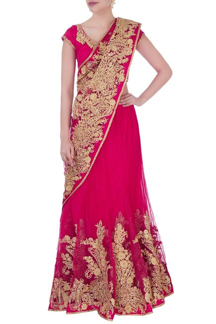 Pink embroidered saree with blouse & petticoat