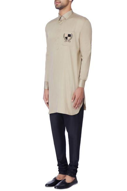 Beige embroidered classic kurta