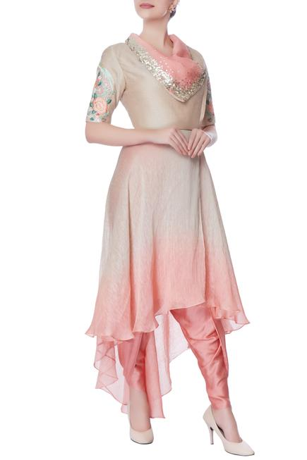 Coral pink & beige suit with dhoti pants