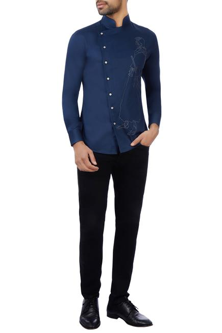 Blue cotton embroidered shirt