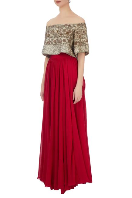 Grey georgette & silk embellished blouse with red solid skirt