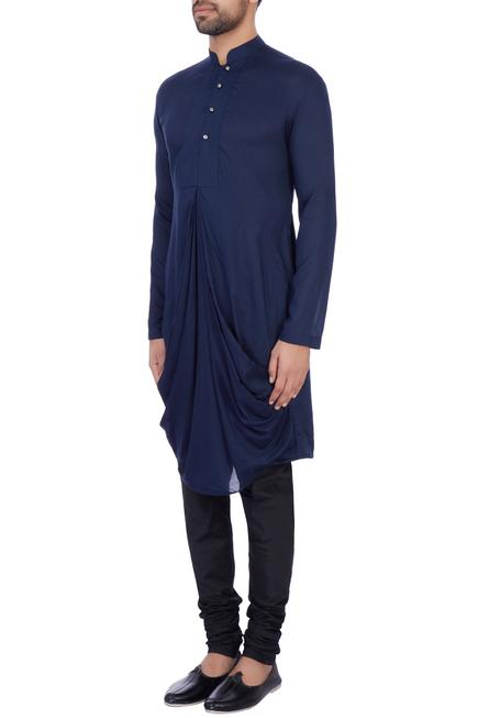 Royal blue modal cotton draped kurta