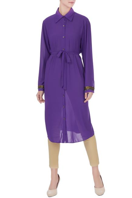 Purple georgette shirt style tunic with inner & belt