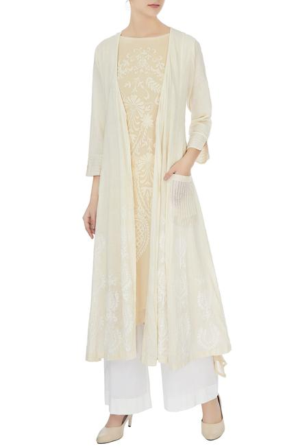 Ivory cotton embroidered long jacket