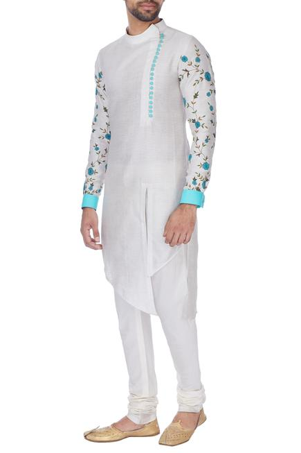 Ivory cotton floral embroidered kurta with straight pants