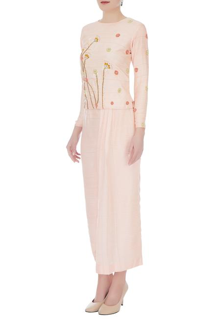 Peach thai silk embroidered blouse with pleated pants