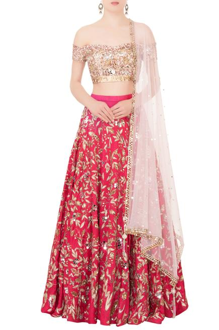 Pink raw silk cutdana & sequin embroidered lehenga set