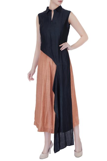 Satin Linen Asymmetric Top