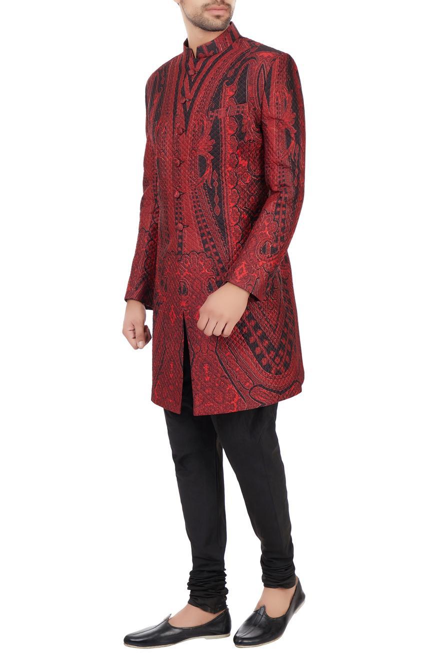 Black & maroon quilted floral printed sherwani
