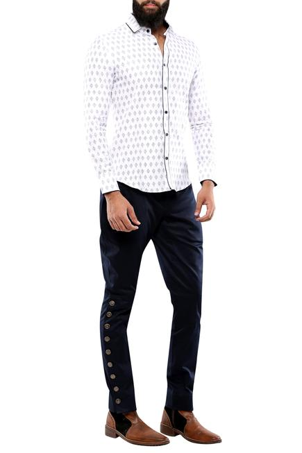 White linen printed shirt