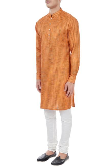 Orange cotton houndstooth pattern kurta