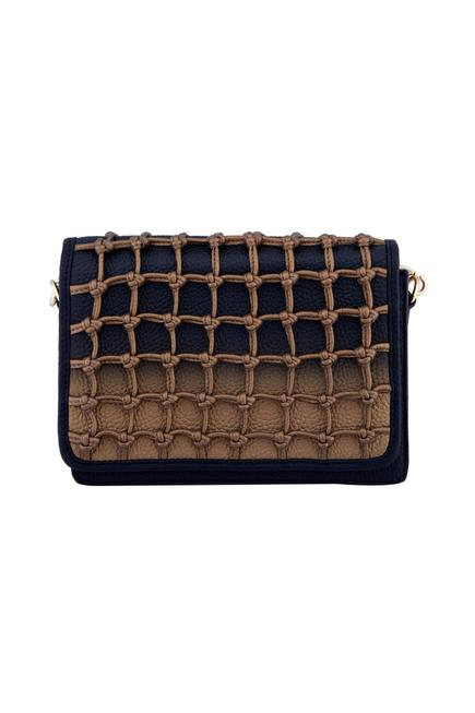 Black & beige square knot weave style clutch with detachable handle