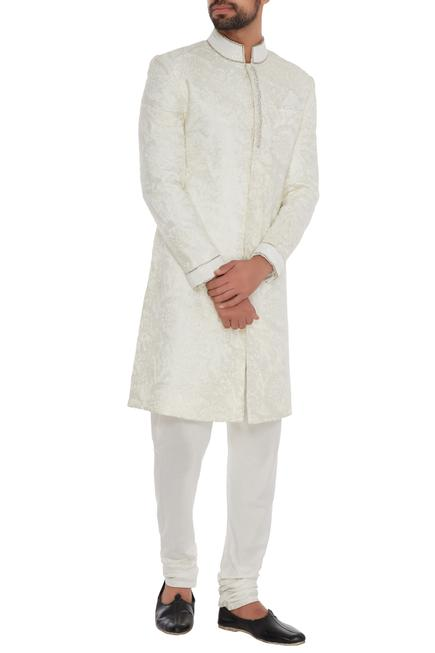 Off white silk embroidered sherwani with off white trousers & pocket square
