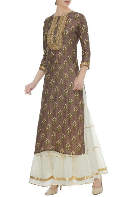Brown cotton silk zari sequin work kurta with off white chanderi sharara