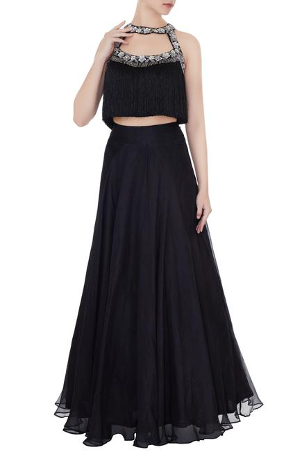 Black chanderi silver floral work top with organza skirt