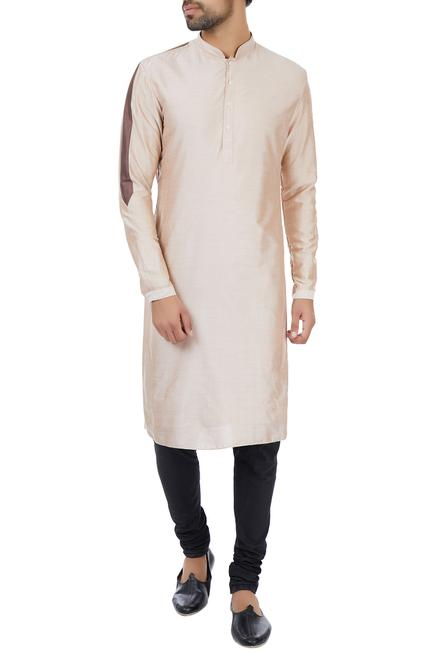 Dusty salmon striped detail classic kurta