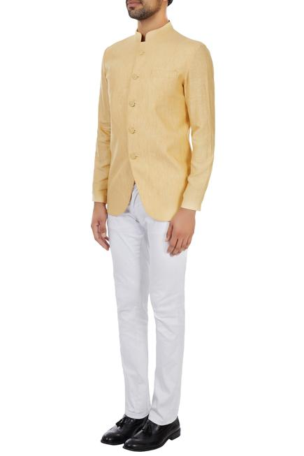 Yellow unlined linen bandgala