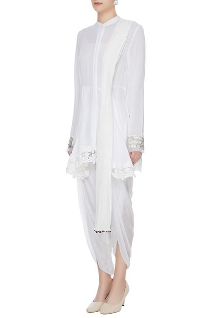 White cotton crepe short kurta with dhoti pants