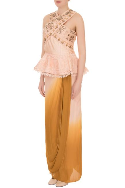 Peach & yellow raw silk & crepe georgette wrap skirt with peplum blouse