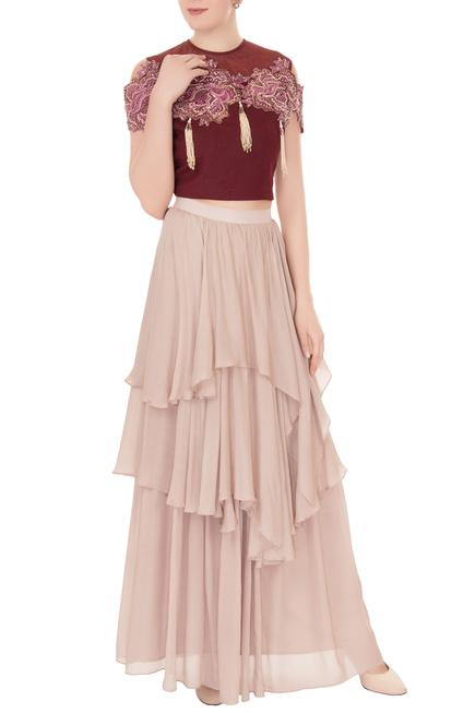 Crimson red & lilac crepe georgette embellished crop top with layered skirt
