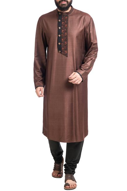 Brown muga dupion silk hand embroidered kurta with churidar
