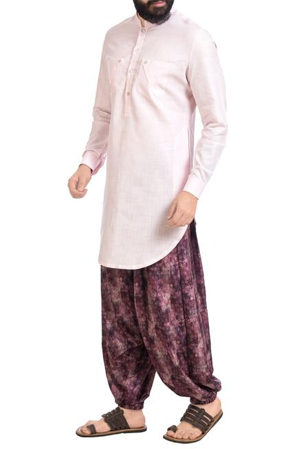 Pink cotton silk kurta with printed cowl pants