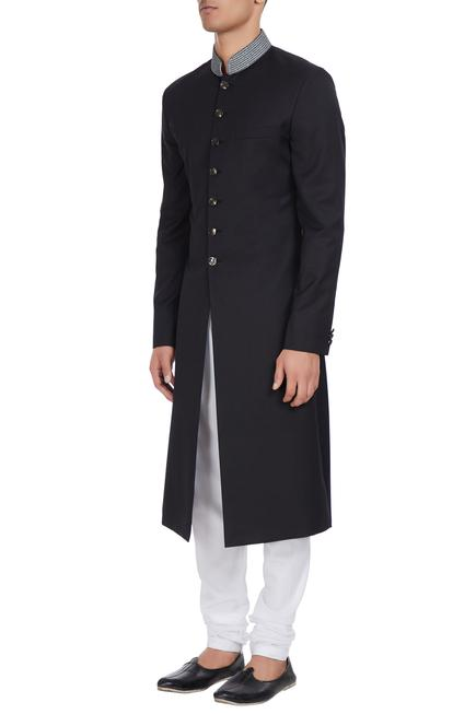 Embroidered collar sherwani with regimental buttons.
