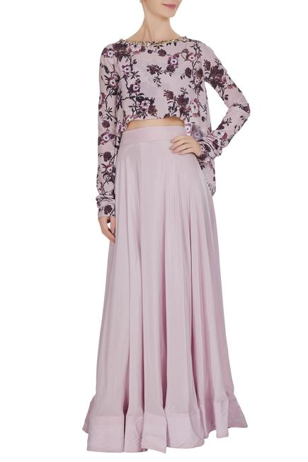 High low cape with bustier & flared lehenga